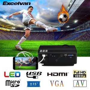 Excelvan E08 LCD Projector Home Cinema Native Resolution 800 × 480 Support 1080P HDMI SD USB VGA Interface Multi-screen Interaction Via iPhone Data Cable Compatible with Amazon Fire TV Stick & PS4 EU