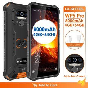 IP68 Waterproof 4GB 64GB Mobile Phone OUKITEL WP5 Pro Smartphone 8000mAh Triple Camera Face/Fingerprint ID 5.5 inches Android 10