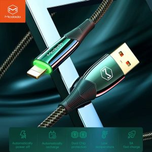 MCDODO 3A USB Cable Auto disconnect Mobile Phone Charger Fast Charging Data Cord For iPhone 12 11 Pro Max X XR XS 8 7 6 6s Plus