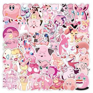10/30/50Pcs Pink Pokemon Stickers TAKARA TOMY Waterproof Skateboard VSCO Guitar Laptop Luggage Cartoon Girl Kids Stikers Toys