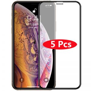5Pcs Full Cover Tempered Glass For 11 Pro Max Explosion-Proof Screen Protector Film For iPhone XR XS 12 Pro Max x 7 8Plus 12mini