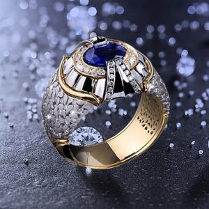 Party Men Rings Creative Watch Shaped Two Tone Design Rings For Men Wedding Ring With Size 6-10 Male Jewelry Wholesale