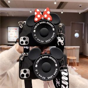 3D Camera Cartoon Coin Bags Soft Silicon Phone Case For iPhone 12 11 Pro XS Max X 8 7 6s Plus SE 2020 XR Cover With Lanyard