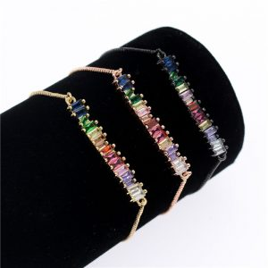 Poshfeel Colorful Cubic Zirconia Rainbow Bracelet for Women Gold Bracelets & Bangles Crystal Charm Jewelry Gift MBR190052