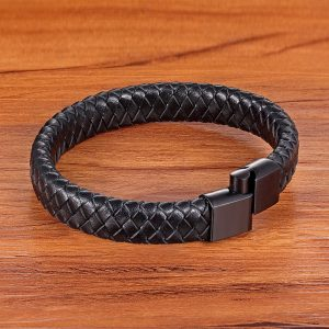 TYO Stainless Steel 4 Colors Clasp Vintage Handmade Woven Black Genuine Bracelet Man Leather Watch Jewelry Accessories Gifts