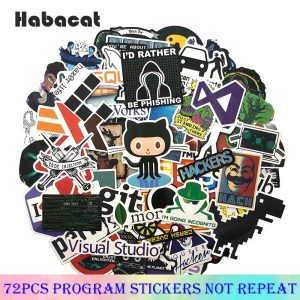 72Pcs/Pack Programming Graffiti Stickers Hacker Stickers Java C++ For Luggage Skateboard Laptop Motorcycle Papeleria y Oficina
