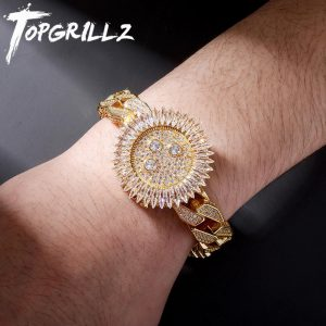 TOPGRILLZ New Luxury Watch Style Bracelet Iced Micro Pave Cubic Zirconia With Spring Clasp High Quality Hip Hop Jewelry For Gift