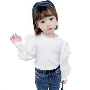 T-shirts For Girls Puff Sleeve T-shirt Girl Casual Style Kids Tops Tee Spring Autumn Baby Girl Clothes