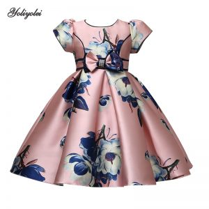 Yoliyolei Dress Girls Birthday Flower Print Dresses Children Clothing Casual Princess Evening Party Clothes With Bow Waistband