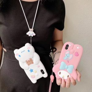 Hot Lovely 3D lanyard Cute doll soft silicone phone case for apple iphone X XR XS MAX 6 7 8 plus dog funda cover coque