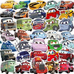10/50Pcs Disney Kawaii Anime Stickers Funny Pixar Cars DIY Sticker Laptop Guitar Skateboard Luggage Waterproof Stikers Kids Toys