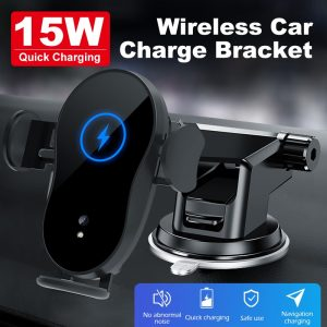 15W Car phone holder qi wireless charger for iPhone 12 X XR Samsung S10 S9 S8 smart sensor car mount phone holder charger