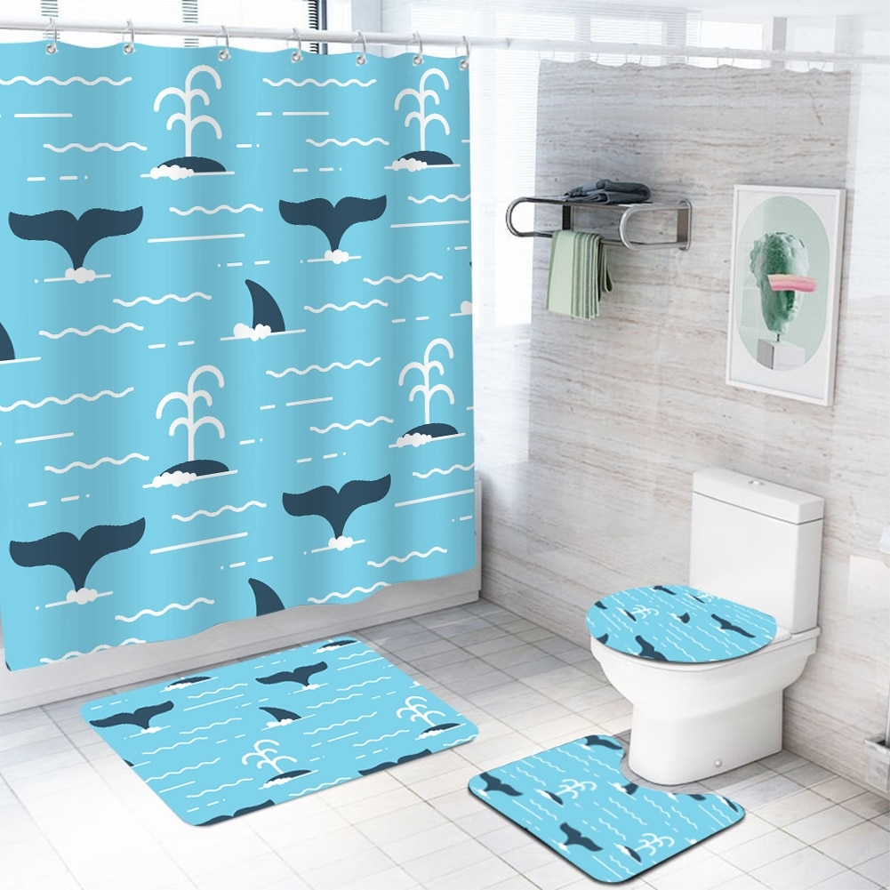 Cute Dolphin Pattern Bathroom Sets With, Fish Bathroom Sets
