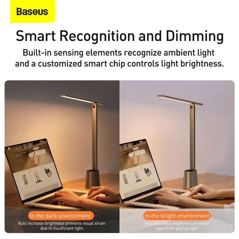 Baseus Led Desk Lamp Smart Adaptive, Folding Desk Lamp Dimmable